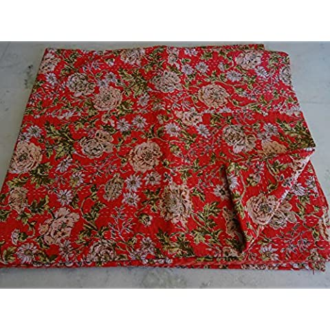 Tribal Asian Textiles-Piumone in cotone, motivo: Ikat, in cotone Copriletto Kantha, fatto a mano Copriletto trapuntato,