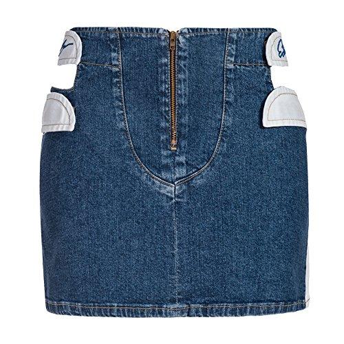 Einblick Zip (Kurzer Jeansrock mit Cut Outs und Kontrast Rückseite, Blau/Weiß, 32, A-1026)