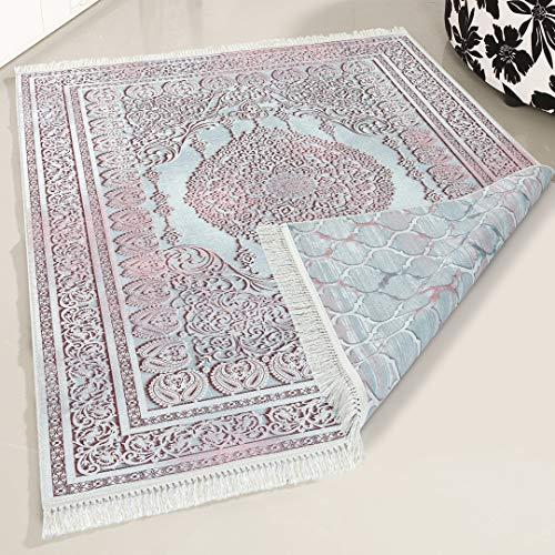 mynes Home Teppich waschbar doppelseitig beidseitig Wohnzimmerteppich Küche Flur Kinderzimmer hochwertig luxuriös rosa Rose orientalisch marokkanisches Design (160 x 230cm)