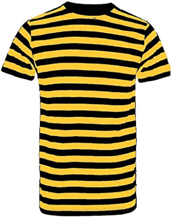 Quest-Mart New Men's Kid's Striped Cotton Stripey T-Shirt Short Sleeve Stripe Cotton T-Shirts