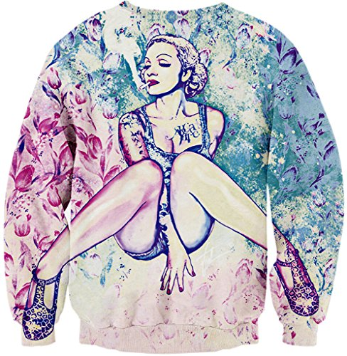 Pizoff Unisex Hip Hop Sweatshirts mit Bunt 3D Digital Printing Muster Y1759-A1