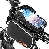 Zuoao Fahrrad Rahmentasche Oberrohrtasche Fahrradtasche Handy Fahrrad Handy Tasche Fits iPhone Samsung LG Sony Nexus HTC Größe unten 6.2' für Radfahren Mountain Bike mit Klaren PVC-Schirm Schwarz