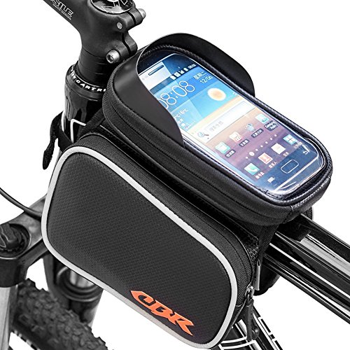 """Zuoao Fahrrad Rahmentasche Oberrohrtasche Fahrradtasche Manoeuvrable Fahrrad Handy Tasche Fits iPhone Samsung LG Sony Nexus HTC Größe unten 6.2"""" für Radfahren Mountain Bike mit Klaren PVC-Schirm Schwarz"""