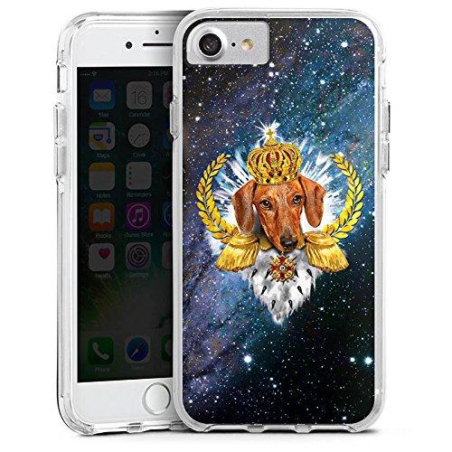 Apple iPhone 6 Bumper Hülle Bumper Case Glitzer Hülle Dackel Koenig King Bumper Case transparent