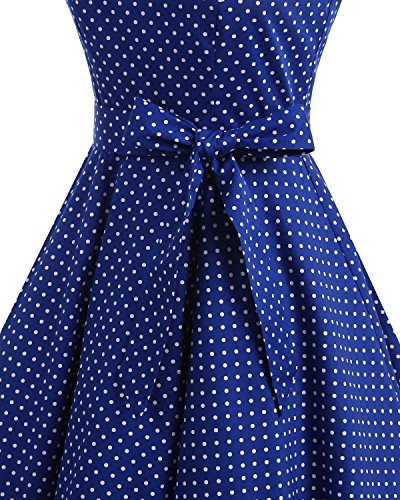 Bbonlinedress 1950er Vintage Polka Dots Pinup Retro Rockabilly Kleid Cocktailkleider Blue White Dot XL - 5
