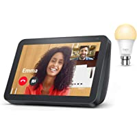 Echo Show 8, Charcoal Fabric + TP-Link Tapo smart bulb (B22), Works with Alexa