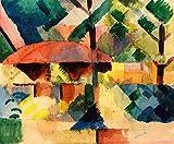 Kunstdruck/Poster: August Macke Garteneingang - hochwertiger Druck, Bild, Kunstposter, 95x80 cm