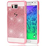 Samsung Galaxy Alpha Hülle Handyhülle von NALIA, Glitzer Slim Hard-Case Back-Cover Schutzhülle, Handy-Tasche im Glitter Design, Dünnes Bling Strass Etui Skin für Galaxy Alpha Smart-Phone - Pink