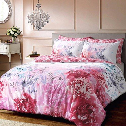 Amor Fashions Polycotton Bold Wende Bemalt Floral Bettwäsche-Set mit Kissenbezügen Hotel Qualität Betten Set, Polycotton, Rose, King: 230cm x 220cm (Rose Floral Bettwäsche-set)