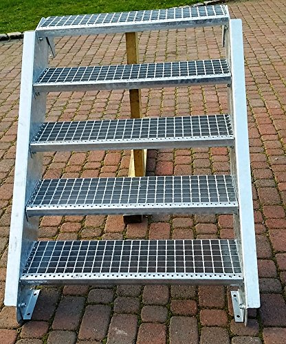 Stahltreppe Aussentreppe Wangentreppe verzinkt 5 Stufen GH 70-105 cm 5-120-Z
