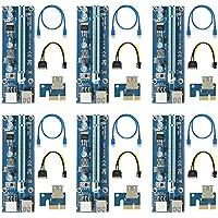 easyDecor (6 pack) de 6 pines PCI-E PCI Express - VER 009S - 1X a 16X PCIE tarjeta adaptadora 60cm USB 3.0 - Con cable de extensión USB - Tarjeta Gráfica GPU Crypto Minería moneda (2018 Últimas)