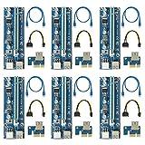 easyDecor (6 Pack) 6-pin PCI-E PCI Express Riser -- 1X à 16X PCIE Carte d'adaptateur USB 3.0 Exploitation minière Carte graphique dédiée Adaptateur de câble d'extension avec câble SATA (nouvelle version VER 009S )
