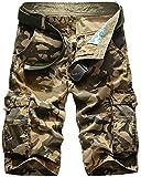 Mochoose Homme Pantalons Courts Coton de L'été Vintage Cargo Travail Casual Camouflage Shorts Multi Pockets Sport et Loisir(Kaki,44)