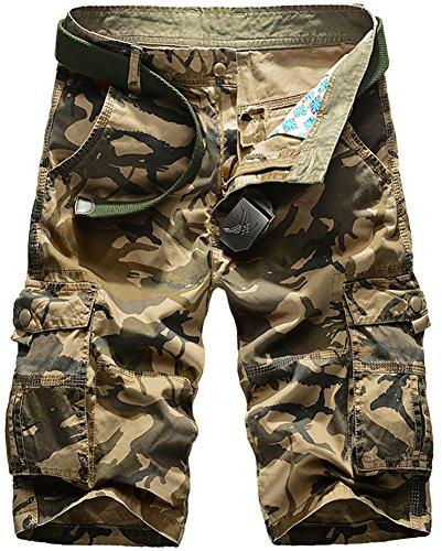 Cargo Baumwoll-mantel (Mochoose Herren Sommer Casual Camouflage Baumwoll Twill Cargo Shorts Multi Taschen Outdoor Tragen Hosen(Khaki,31))