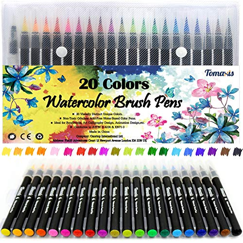 Pinselstift-Set Pinselstiften Aquarellpinsel Brush Pen Set Wassеrtankpinsеl Stifte mit variabler Spitze für Malen Zeichnen Fasermaler Handlettering, Zendoodle, Kalligrafie Mangas 20er Pinselset.