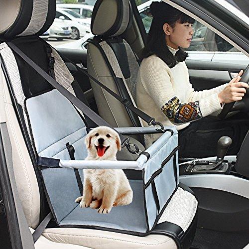 Hund Autositze Cat Car Travel Sicherheitssitz Portable kleine Hund Katze Car Carrier mit Sicherheitsleine und Reißverschluss Aufbewahrungstasche (Grau) (Auto Sitzbezug Reisetasche)