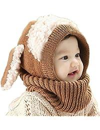 13494dff7c5e Bonnet Chaud Chapeau Cagoule Chiot Bebe Enfant Echarpe Hiver Automne en  Laine Tricote - Koobea