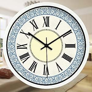 Pingofm Living Room Creative Roman Word Blue Decorated Wall Clock Quartz Clock Modern European