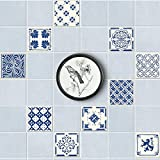 Shackcom Autocollant de Tuile Stickers Carrelage Auto-adhésif Étanche pour Cuisine Salle de Bains Autocollant Mural Fond d'écran pour Carreaux Décoratif Décoration Murale Maison 15x15cm 20pcs DT034