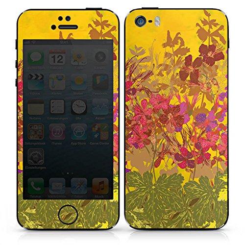 Apple iPhone SE Case Skin Sticker aus Vinyl-Folie Aufkleber Sonnig Blumen Muster DesignSkins® glänzend