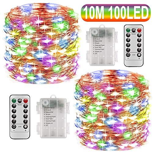 Lichterkette Batterie, 2er 10M 100 LED Lichterkette 8 Modi Außenbeleuchtung Batteriebetrieben Kupferdraht Wasserdichte IP68 mit Fernbedienung und Timer für Zimmer Weihnachten Dekoration (Mehrfarbig)