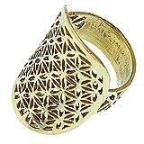 Chic-Net Messing Ringe Blume des Lebens oval Brass antik golden nickelfrei Tribal Schmuck 53 (16.9)