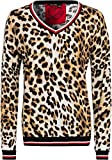MARC AUREL Langarm Pullover V-Ausschnitt Leopardenmuster hellbraun Größe 42