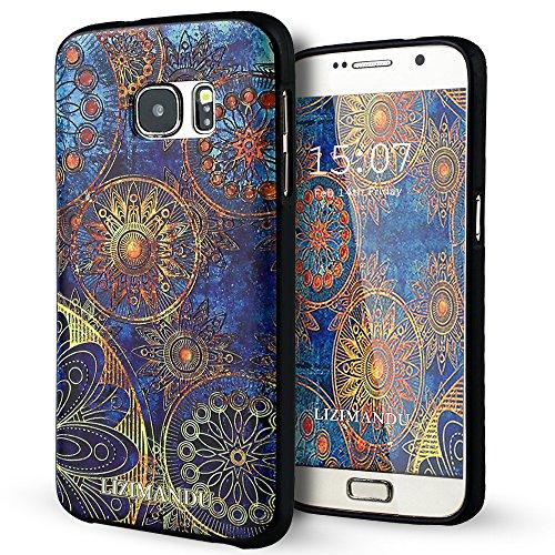 Samsung Galaxy S7 Edge hülle,Lizimandu TPU 3D Handyhülle Muster Case Für Samsung Galaxy S7 Edge(Blaue Blume/Blue Flower)