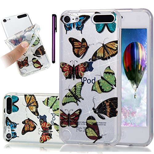 iPod Touch 5. Fall, iPod Touch 6 Fall leecoco Bling Glitzer Sparkle Kristall Blumenmuster Transparent Slim Soft Bumper TPU Silikon Schutzhülle Cover für Ipod Touch 5./6, Glitter Colorful Butterfly (Ipod Touch Elefanten-fall)