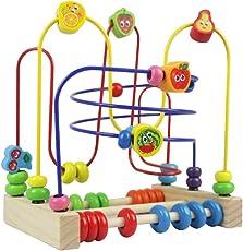 Motorikschleife Holzspielzeug aus Holz Motorikspielzeug Beads Maze Perlen Labyrinth Würfel Spielzeug Abakus Spiel Für Kinder ab 3 Jahren