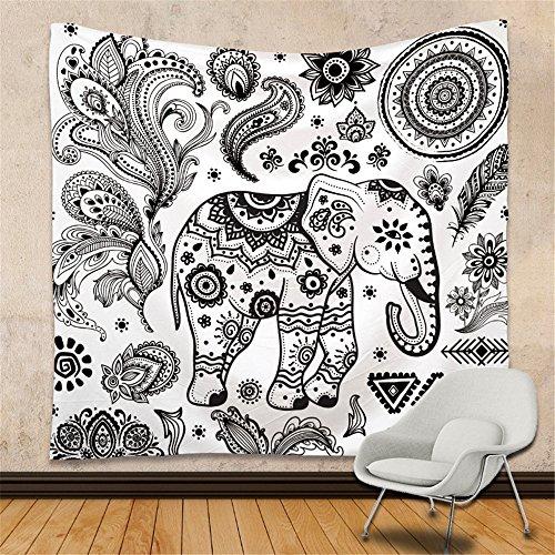 KaO0YaN Hippie Mandala Tapices, Bohemio Tradicional Colgante Decoración, Indio Boho Gypsy Algodón Mantel Toalla de Playa, Tapiz de Pared Colgante, Elefante Negro Blanco, 150x130cm