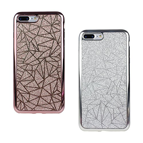 2 PCS iPhone 7 Plus / 8 Plus 5.5 Zoll Glitter Case, iPhone 8 Plus Tasche Glitzer, iPhone 7 Plus Tasche Glitzer, Moon mood® Kristall Sparkle Schutzhülle für Apple iPhone 7 Plus mit Streifen Thin Dünn W 2PCS-6