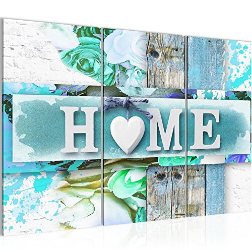 Bild 120 x 80 cm - Home Bilder- Vlies Leinwand - Deko für Wohnzimmer -Wandbild - XXL 3 Teilig Teile - leichtes Aufhängen- 802831c