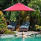 Ziggo Sonnenschirm, Schirmständer Marktschirm Gartenschirm Terrassenschirm Ø 195 cm Ampelschirm Kurbelschirm Sonnenschutz vor UV |3-5 Liefertage (Rot)