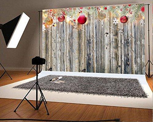 220x150cm(7x5ft) Kate Microfiber Holz Wand Weihnachten Fotografie Kulissen Bunte Glocke Schneeflocke Photo Booth Prop Hintergrund für Party