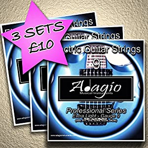 3 PACKS – Adagio Professional Electric Guitar Strings 9-42 Gauge 9 Ball Ends