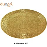 """Dungri ® Handmade Golden Round Beaded Placemat - Large Coaster Perfect For Dinner Table, Dining Table Placemats ( Dia - 12"""") NEW GIFT IDEA.."""