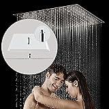Diseño Moderno Cuadrada Cabeza de Ducha de Lluvia de Acero Inoxidable Rociador Cromado Superior Pulverizador Ultra Fino para Baño (50 x 50cm)