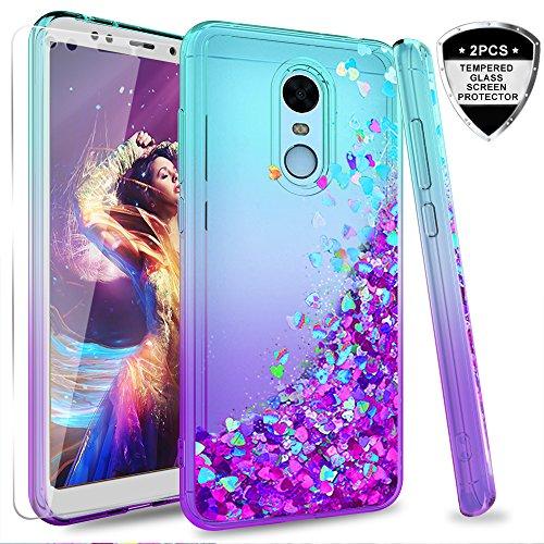 LeYi Funda Xiaomi Redmi 5 Plus Silicona Purpurina Carcasa con [2-Unidades Cristal Vidrio Templado],Transparente Cristal Bumper Telefono Gel TPU Fundas Case Cover para Movil Redmi 5 Plus Púrpura/Azul