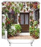 UniEco 180x180cm Anti-Schimmel Wasserdicht Duschvorhang,Anti-bakterieller Vorhang für die Dusche inkl. 12 Duschvorhangringen, Blickdichter Vorhang aus 100% Polyester