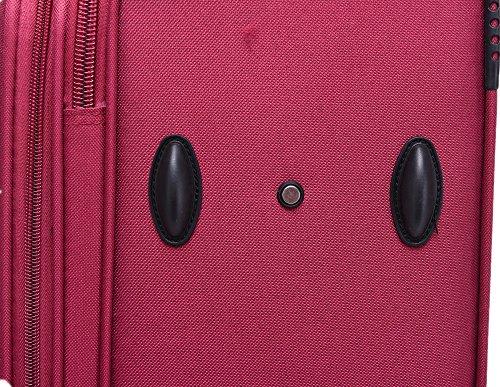 BEIBYE 8009 TSA Schloß Stoff Trolley Reisekoffer Koffer Kofferset Gepäckset (Rot, M) - 4