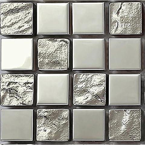 Campione, 10 x 10 cm, in acciaio INOX lucido e ruvide MT0129 piastrelle a mosaico in vetro, colore: argento