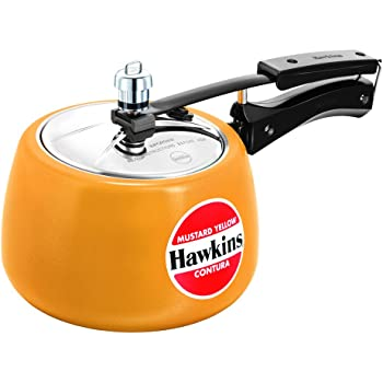 Hawkins Contura Ceramic Coated Pressure Cooker, 3 Litres, Mustard Yellow