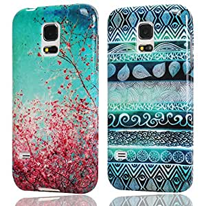 Hunye 2in1 Accessori Set: 2 x Custodia in TPU Gomma per Samsung Galaxy S5 Mini Case Gel Prugna Fiore e Indiano Modello colorato Cover