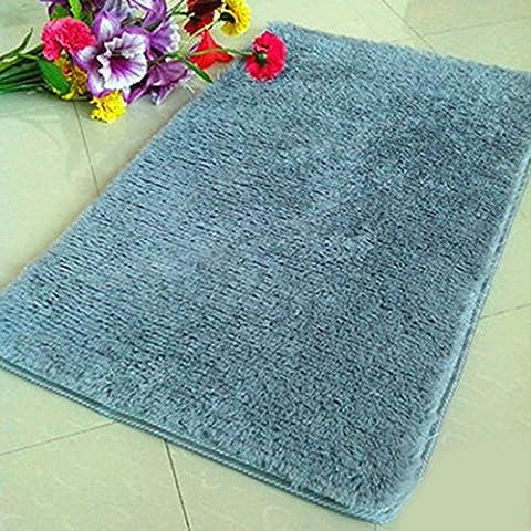 QHGstore Pleuche antideslizante Dormitorio Alfombra Alfombra Puerta a prueba de polvo de la felpa de la estera de baño del piso gris 50*80cm
