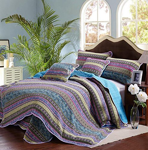 Alicemall biancheria da letto copriletto set da 3 trapunta estate con 2 federe in cotone patchwork striped jacquard queen