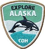 Club-of-Heroes 2 x Stick Abzeichen 55 x 60 mm/Entdecke Alaska/hochwertige Applikation mit Orka Wal/Aufnäher Aufbügler Flicken Bügelbild Patch für Kleidung Rucksack/Outdoor Reise Camping