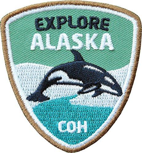 Club of Heroes 2 x Stick Abzeichen 55 x 60 mm/Entdecke Alaska/hochwertige Applikation mit Orka Wal/Aufnäher Aufbügler Flicken Bügelbild Patch für Kleidung Rucksack/Outdoor Reise Camping
