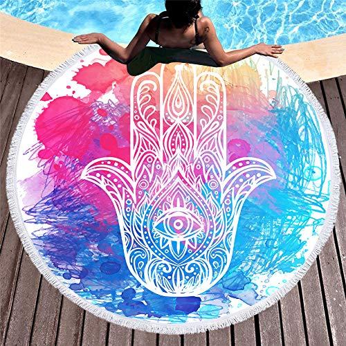 Sticker superb palmo della mano stampa telo mare rotondo donna ragazza, occhi nero blu viola rosa,microfibra, coperta da picnic leggera per viaggi in spiaggia (color 4)