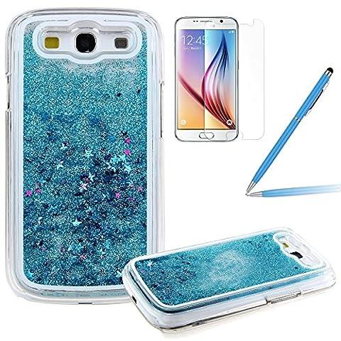 Galaxy S3 Glitzer Hülle, Felfy Samsung Galaxy S3 Kreativ Luxury Flüssig Fließende Sparkly Bling Stern Blau Quicksand Haut Tasche Back Case Cover Etui + 1x Blau Metall Stylus Touch Pen + 1x